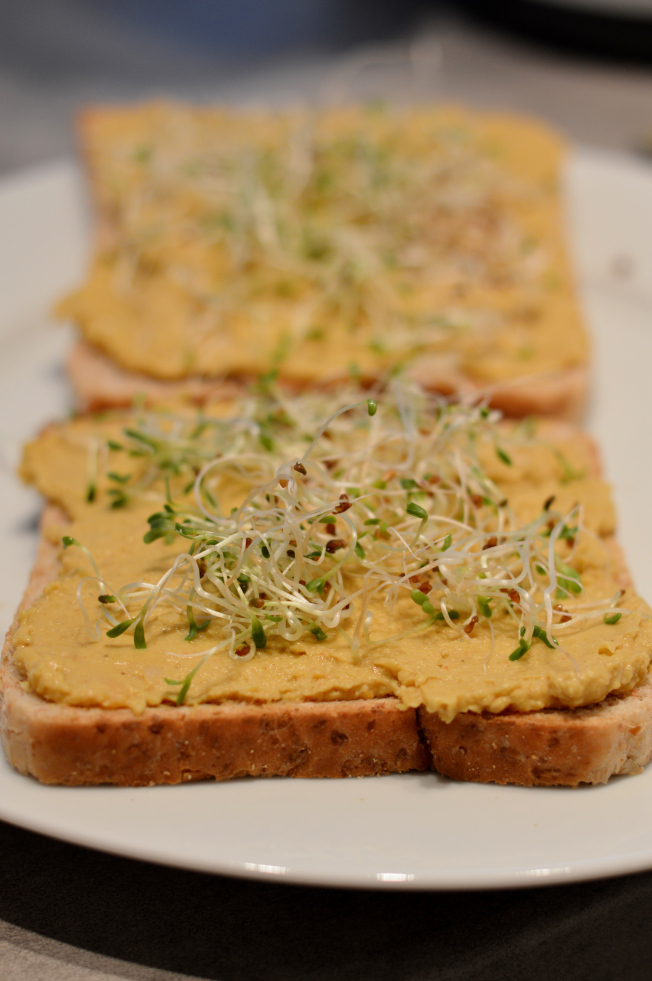 Hummus und Alfalfa Sprossen