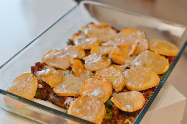 Rezept: Veganer Süßkartoffel-Spargel-Auflauf