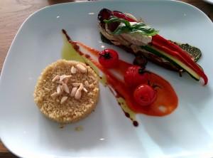 Gefüllte Aubergine mit Cashewfrischkäse und Quinoa Fink am Dobben Bremen vegan