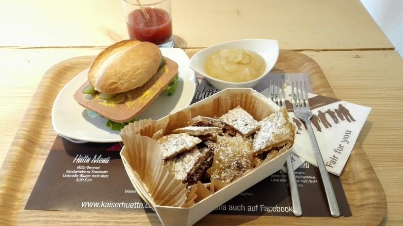 Vegan in: Bonn – Kaiserhüttn Kaiserschmarrn Apfelmus Leberkäse Hüttnburger Hüttn Power Drink Chiasamen