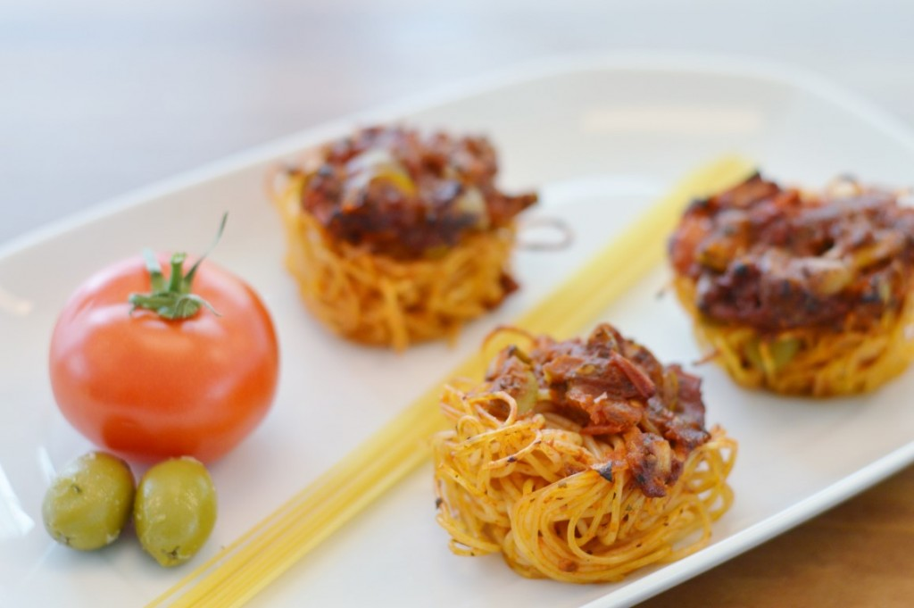 Rezept: herzhafte mediterrane Spaghetti-Muffins vegan