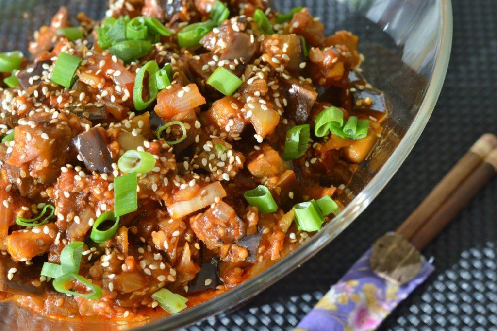 Rezept: Chinesische Auberginen Pfanne vegan vegetarisch Rezept asiatisch scharf